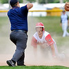 John P. Cleary | The Herald Bulletin<br /> Frankton's Will Harris looks up in disbelief as the umpire calls him out at second base in third inning action.
