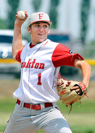 John P. Cleary | The Herald Bulletin<br /> Frankton's pitcher Landon Weins struck out 11 batters and gave up just one earned run in a 4-2 sectional victory over Lapel