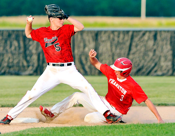 John P. Cleary |  The Herald Bulletin<br /> Wapahani's shortstop Alec Summers throws to first as Frankton's Travis McGuire slides into second base on a double play attempt in the fifth inning. McGuires' hard slide interrupted the plays timing and the batter beat Summers throw to be called safe at first.
