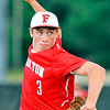 John P. Cleary |  The Herald Bulletin<br /> Frankton's pitcher Travis McGuire keeps his eyes on his target.