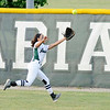 Don Knight   The Herald Bulletin<br /> Pendleton Heights' Jayden Brown catches a fly ball in the outfield as the Arabians hosted Cathedral in the regional on Tuesday.
