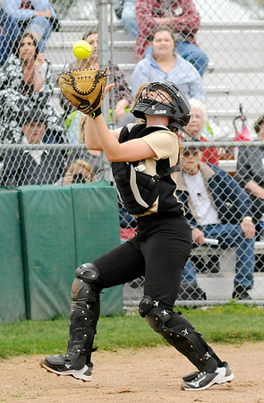 Don Knight | The Herald Bulletin<br /> Madison-Grant catcher Zoey Barnett catches a foul ball as the Argylls hosted the Alexandria Tigers on Thursday.