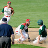 Don Knight | The Herald Bulletin<br /> Anderson's Brayden Waymire tags Pendleton Heights' Evan Douglas out as he attempted to steal second on Wednesday.