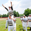 Don Knight | The Herald Bulletin<br /> Daleville's Bryce Wright carries Brandon Vermillion on his shoulders after the Broncos 2-1 win over Blackhawk Christian in the semistate at Plymouth on Saturday.