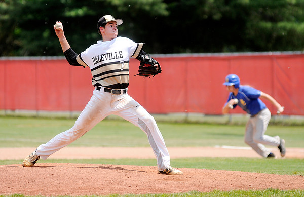 Don Knight | The Herald Bulletin<br /> Daleville's Brandon Vermillion pitches for the Broncos as they faced Blackhawk Christian in the semistate at Plymouth on Saturday.