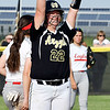 Madison-Grant's Chelsea Parker gestures to her teammates after hitting a double in the third inning.