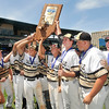 John P. Cleary | The Herald Bulletin<br /> Daleville hoists the state championship trophy after defeating Lanesville 4-0.