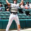 John P. Cleary | The Herald Bulletin<br /> Daleville's Elliot Jackson gets pumped up after hitting a bases-loaded triple to give Daleville a 4 run lead.