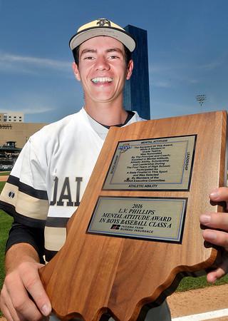 John P. Cleary | The Herald Bulletin<br /> Daleville's Brandon Vermillion was named the mental attitude award winner in boys baseball class A.
