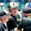 John P. Cleary   The Herald Bulletin<br /> Daleville head coach Terry Turner talks with his assistant coaches.