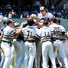 John P. Cleary | The Herald Bulletin<br /> Daleville players celebrate after the final out to win the Class A baseball state championship.
