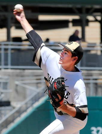 John P. Cleary   The Herald Bulletin<br /> Daleville pitcher Brandon Vermillion pitched a complete game four-hit shutout<br /> against Lanesville in the Class A baseball state finals game.