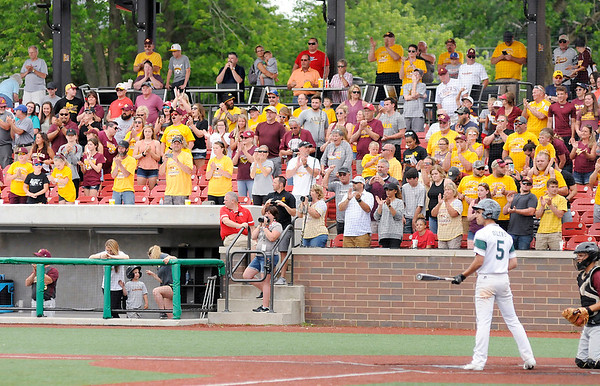 Don Knight | The Herald Bulletin<br /> Alexandria fans stand to their feet with two out in the bottom of the seventh as the Tigers beat Whiting in the semistate at Kokomo on Saturday.