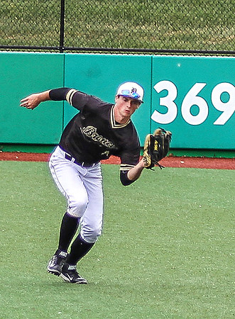 Photo by Chris Martin for The Herald Bulletin.<br /> Daleville Right Fielder Josh Price makes a running catch in the 1A Semi State matchup against Northfield.  Daleville won 8-2 Saturday at Kokomo Municipal Stadium