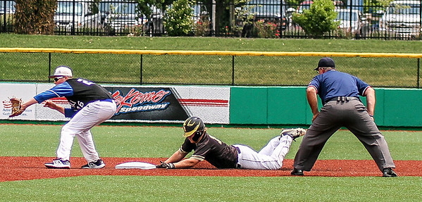 Photo by Chris Martin for The Herald Bulletin.<br /> Daleville's Peyton Smith safely slides into Second Base in the 1A Semi State matchup against Northfield.  Daleville won 8-2 Saturday at Kokomo Municipal Stadium