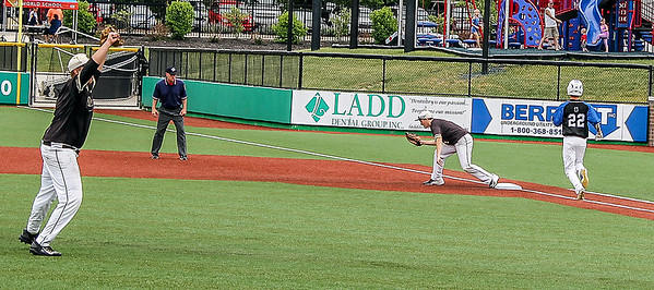 Photo by Chris Martin for The Herald Bulletin.<br /> Daleville First Baseman Jimmy Bowen record the final out in the 1A Semi State matchup against Northfield.  Daleville won 8-2 Saturday at Kokomo Municipal Stadium