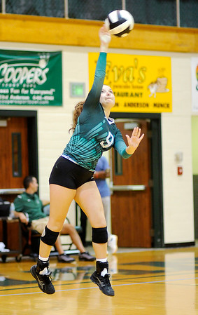 Don Knight   The Herald Bulletin<br /> Pendleton Heights' Rachel Axsom serves for the Arabians as they hosted Anderson on Wednesday.