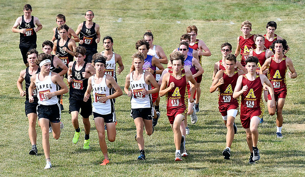The boys take off at the start of the Lapel Invitational Cross Country meet Tuesday.