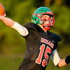 Don Knight | The Herald Bulletin<br /> Anderson quarterback Dylan Barron throws a pass as the Indians opened their season against Yorktown at home on Friday.