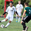 John P. Cleary | The Herald Bulletin<br /> Anderson's Stephen Pacheco lets a kick go that just went wide of the goal.