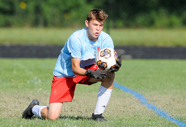 Don Knight   The Herald Bulletin<br /> Liberty Christian goalie Tyler Houk makes a save as the Anderson Indians hosted the Lions on Thursday.