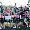 Don Knight | The Herald Bulletin<br /> The Pendleton Heights cheerleaders and students cheer as the Mississinewa Indians kick off to the Arabians on Friday.