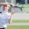 Don Knight | The Herald Bulletin<br /> Lapel's Jesse McCurdy returns a volley to Frankton's Cameron Klabunde in the No. 2 singles match in the first round of the Madison County Tennis Tournament on Thursday.