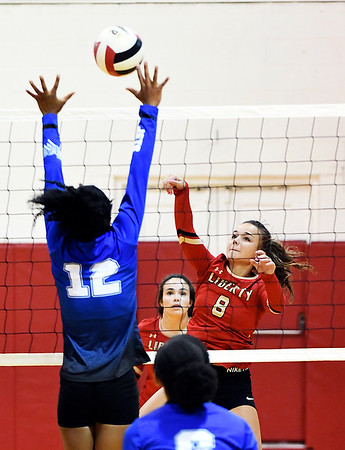 John P. Cleary   The Herald Bulletin<br /> Anderson Prep vs Liberty Christian in volleyball.