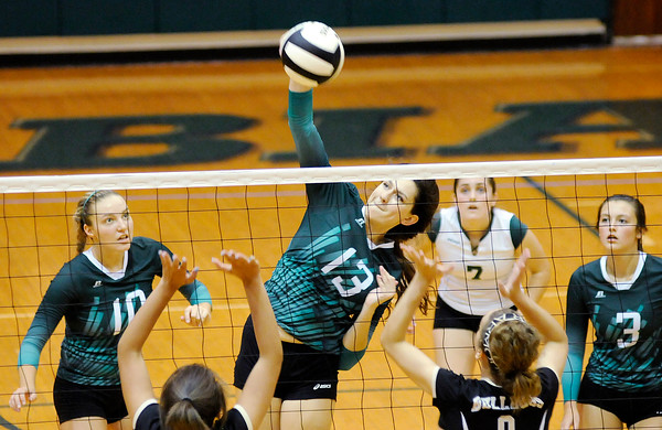Don Knight | The Herald Bulletin<br /> Pendleton Heights' Aubree Lanman attacks the ball as the Arabians hosted the Lapel Bulldogs on Tuesday.