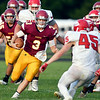 John P. Cleary | The Herald Bulletin<br /> Alexandria's QB Rylan Metz takes the ball upfield.