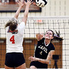 John P. Cleary | The Herald Bulletin<br /> Lapel's #4 Zoe Freer makes a kill past Frankton's Audrey Cleek.