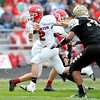 John P. Cleary |  The Herald Bulletin<br /> Frankton's Dru Berkebile busts through the line the a big gain.