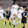 Don Knight | The Herald Bulletin<br /> Pendleton Height's Helena Talbot scores a goal on a corner kick as the Arabians hosted the Yorktown Tigers on Tuesday.