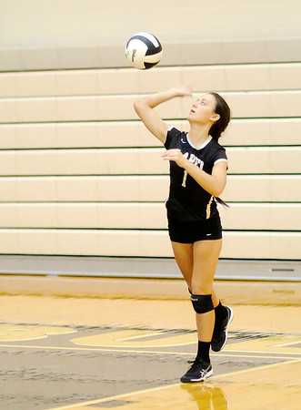Don Knight | The Herald Bulletin<br /> Lapel's Camryn Carpenter serves as the Bulldogs hosted the Anderson Indians on Wednesday.