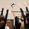 Don Knight | The Herald Bulletin<br /> Madison-Grant's Maddie Barnhart scores a kill as she attacks the ball as the Argylls hosted Wapahani on Wednesday.