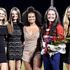 John P. Cleary | The Herald Bulletin<br /> Elwood High School Homecoming Queen, Sydney Scott, fourth from left, with her court, Claudia Leavell, Emily Dietzer, Jayla Thompson, Queen Scott, and Hanna Everson.