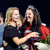 John P. Cleary | The Herald Bulletin<br /> Elwood High School Homecoming Queen Sydney Scott, right, gets congratulated by candidate Claudia Leavell during halftime activities.