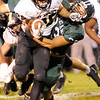 Don Knight | The Herald Bulletin<br /> Pendleton Heights' Joseph Rios tackles Mt. Vernon's Rylan Cole on Friday.