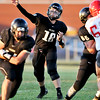 John P. Cleary | The Herald Bulletin<br /> Lapel quarterback Levi Frazier has good protection as he sets up and throws a pass down field.