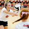 Don Knight | The Herald Bulletin<br /> Frankton's Kate Sperry passes the ball as the Eagles hosted the Madison-Grant Argylls on Tuesday.