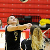 Don Knight | The Herald Bulletin<br /> Madison-Grant's Brooke Butcher passes the ball as the Argylls faced the Frankton Eagles on Tuesday.