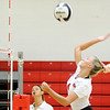 Don Knight | The Herald Bulletin<br /> Frankton's Audrey Cleek attacks the ball as the Eagles hosted the Madison-Grant Argylls on Tuesday.