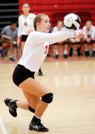 Don Knight   The Herald Bulletin<br /> Frankton's Audrey French passes the ball as the Eagles hosted the Madison-Grant Argylls on Tuesday.