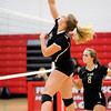 Don Knight | The Herald Bulletin<br /> Madison-Grant's Maddie Barnhart scores a kill for the Argylls as they faced Frankton on Tuesday.