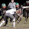 Don Knight | The Herald Bulletin<br /> Anderson's Jalen Swain runs behind the blocking of Michael Trahan as the Indians hosted Arsenal Tech for homecoming on Friday.