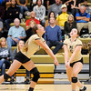 Don Knight | The Herald Bulletin<br /> Madison-Grant's Sloane Stewart, left, and Brooke Butcher both look to send the ball over the net as the Argylls hosted Alexandria on Saturday.
