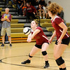 Don Knight | The Herald Bulletin<br /> Alexandria's Kirsten VanHorn passes the ball as the Tigers faced the Madison-Grant Argylls for the CIC title on Saturday.