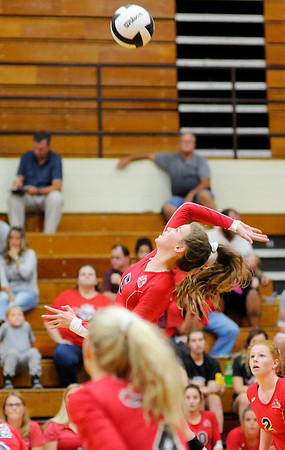 Don Knight | The Herald Bulletin<br /> Frankton's Kate Sperry attacks the ball as the Eagles faced the Alexandria Tigers on Tuesday.
