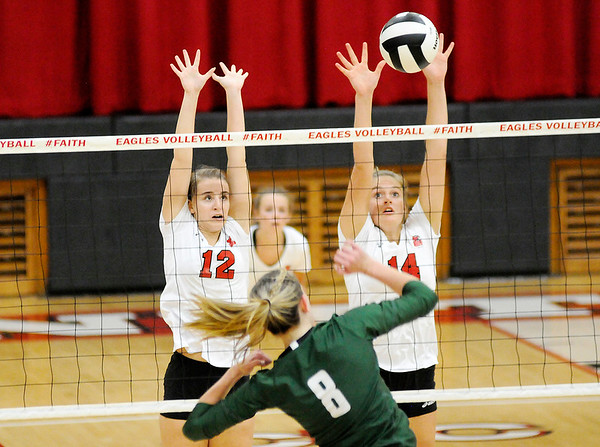 Don Knight   The Herald Bulletin<br /> First round of county volleyball action at Frankton on Thursday.