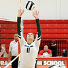 Don Knight | The Herald Bulletin<br /> Pendleton Heights Aubree Dwiggins sets the ball as Pendleton Heights faced Alexandria in pool play during the county volleyball tournament at Frankton on Thursday.